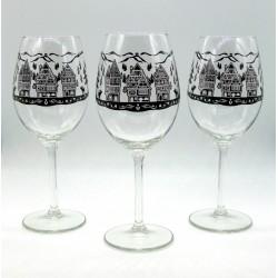 3 Verres à Vin 41 cl Motifs Vignoble